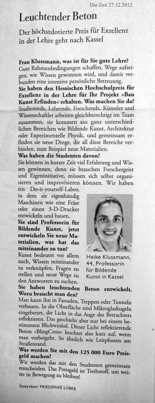 Die Zeit - Interview Klussmann - Hochschulpreis fü