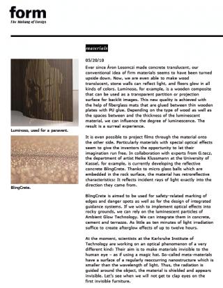 form zeitschrift für design blingcrete
